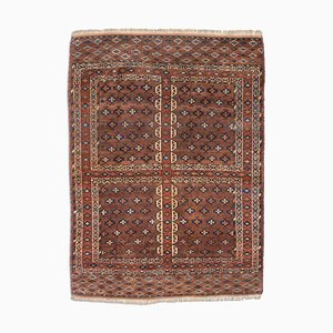 Antique Geometric Dark Brown Yomoudh Rug with Border, Field Pattern & Diamonds