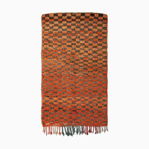 Moroccan Terracotta Patterned Berber Rug, 1950s