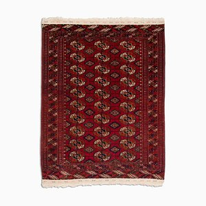 Geometric Wine Red Tekke Bokhara with Border & Diamonds, 1930s