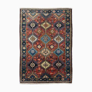Geometric Dark Red Yalameh Rug with Border & Diamonds, 1980s