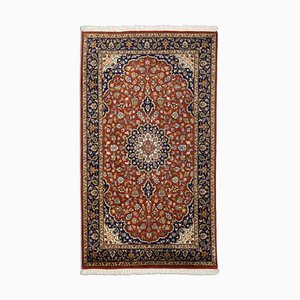 Indian Floral Dark Brown Oriental Rug with Border & Medallion, 1980s