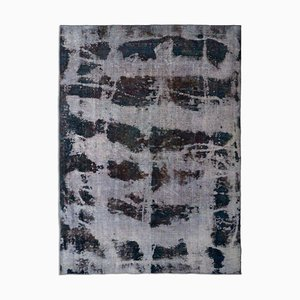 Vintage Dark Blue Rug with Color Gradient