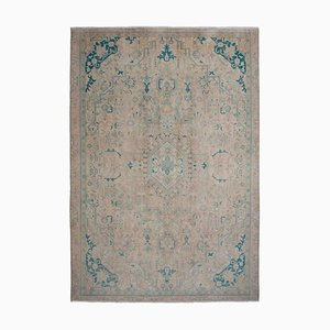 Vintage Floral Beige Carpet with Border & Medallion