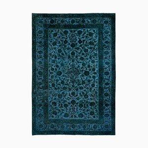 Vintage Floral Light Blue Carpet with Border & Central Medallion