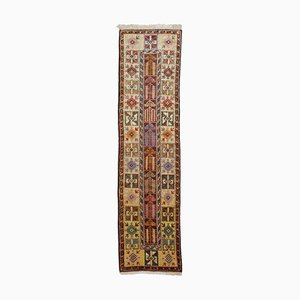 Turkish Geometric Beige Oriental Runner Rug with Border and Medaillon, 1970s