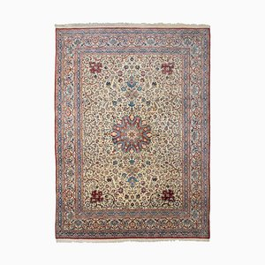 Floral Beige Nain Tudeshk Rug with Border & Medallion