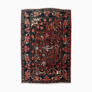 Middle East Floral Rusty Red Rug with Border, 1930s