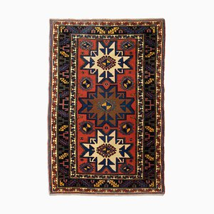 Geometric Rusty Red Kordi Rug with Border & Diamonds, 1970s