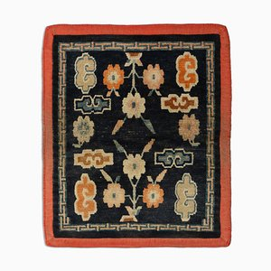 Antique Tibetan Floral Dark Blue Rug with Border
