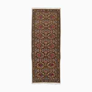 Middle East Floral Beige Runner Rug with Border, 1980s