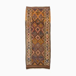 Geometric Dark Brown Kurd Kilim Rug with Diamonds & Border, 1970s
