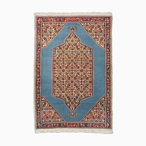 Geometric Blue-Gray Sarough Rug with Border & Medallion, 1980s