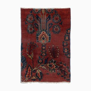 Antique Floral Sarough Rug in Rusty Red
