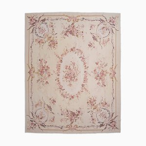 Chinese Floral Gray-Beige Aubusson Rug with Border & Medallion, 1990s