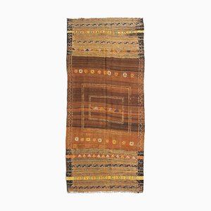 Geometric Dark Brown Kilim Carpet with Stripes, 1930s