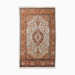 Floral Rusty Red Kashmir Rug with Border & Medallion, 1980s