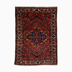 Floral Light Red Bakhtiari Rug with Border & Medallion, 1940s