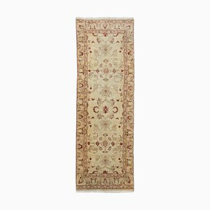 Middle East Floral Beige Runner Rug with Border, 2000s