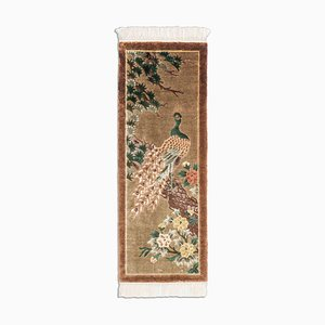 Chinese Olive Green Runner Rug with Motif & Border, 1990s