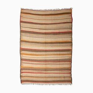 Patterned Beige Kilim Carpet with Stripes, 1950s