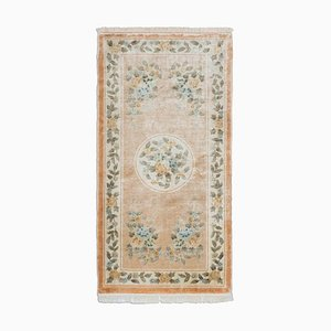 Chinese Floral Rose Silk Carpet with Motif & Border, 1980s