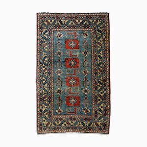Middle East Geometric Blue-Gray Rug with Border & Medallion, 1920s