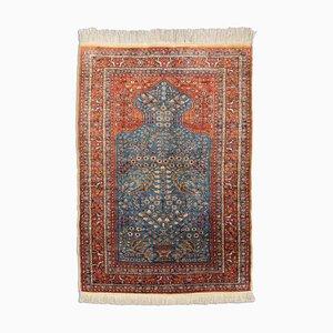 Floraler Dunkelgrauer Merzerisierter Kayseri Teppich aus Baumwolle mit Border, 1970er