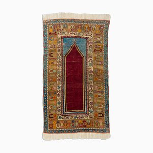 Turkish Geometric Wine Red Oriental Rug with Border, 1920s