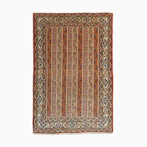 Middle East Floral Rusty Red Rug with Border & Stripes, 1950s