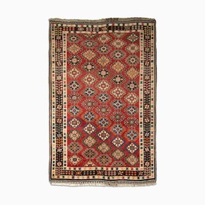 Geometric Dark Red Ghashgai Rug with Border & Tree of Life, 1940s