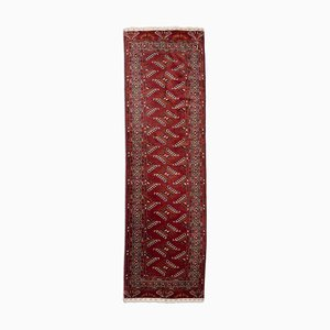 Geometric Dark Red Tekke Runner Rug with Border, 1940s