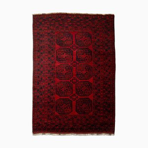 Geometric Dark Red Afghan Rug with Border, 1930s