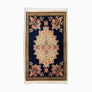 Floral Dark Blue Sarough Rug with Border & Medallion, 1950s