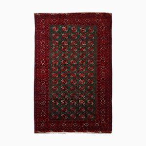Dunkelroter türkischer Teppich mit Border & Diamanten, 1930er
