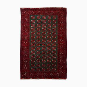 Turkish Pattern Dark Red Rug with Border & Diamonds, 1930s