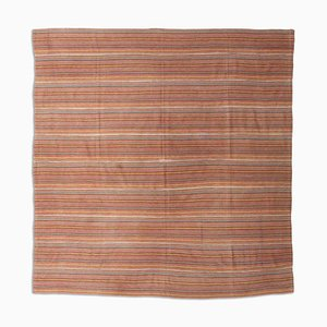 Middle East Patterned Light Red Kilim Rug with Stripes, 1950s