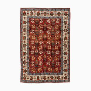 Middle East Floral Dark Red Rug with Border, 1950s