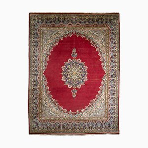 Middle East Floral Wine Red Rug with Border & Medallion, 1960s