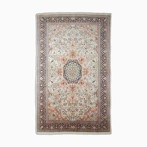 Floral Off-White Mercerized Cotton Kashmir Carpet with Border & Medallion, 2000s