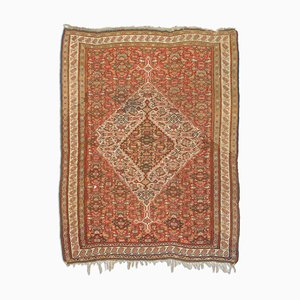 Antique Middle East Rusty Red Kilim Carpet with Border & Medallion