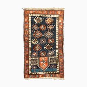 Antiker Geometrischer Dunkelblauer Kazak Teppich mit Rauten & Rahmen