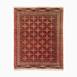 Turkish Geometric Rusty Red Carpet with Border, 1940s