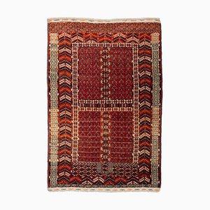 Turkish Geometric Dark Red Carpet with Border & Field Pattern, 1920s