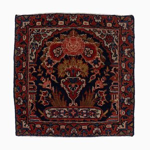 Antique Floral Sarough Rug in Dark Red with Motif and Border