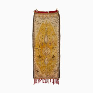 Moroccan Floral Gold Berber Rug with Tree of Life & Medallion, 1950s