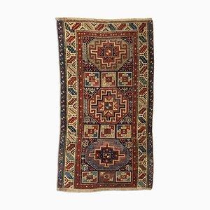 Geometrischer Dunkelblauer Kazak Teppich mit Border & Diamanten, 1920er