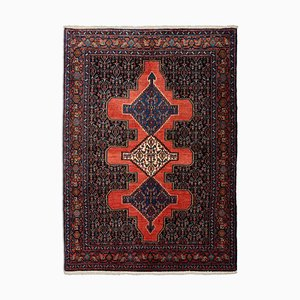 Middle East Geometric Rusty Red Patterned Rug with Central Medallion & Border, 1980s