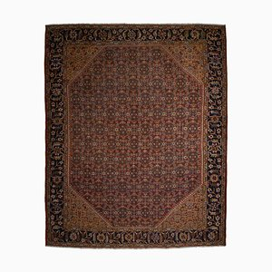 Antique Floral Dark Red Mahal Rug with Border
