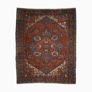 Antiker geometrischer hellroter orientalischer Teppich mit Border & Medaillon