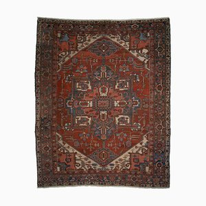 Antique Middle East Geometric Light Red Rug with Border & Medallion
